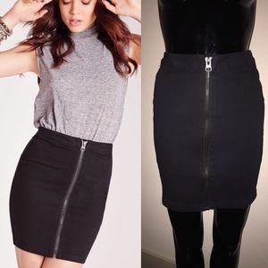 Missguided Black Denim Jean Zip Front Mini Skirt 2